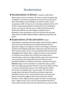 Preview of Secularisation summary