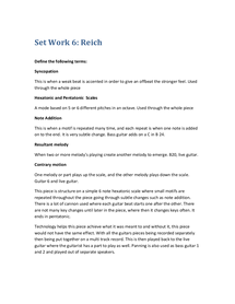 Preview of Set Work 6 - Reich