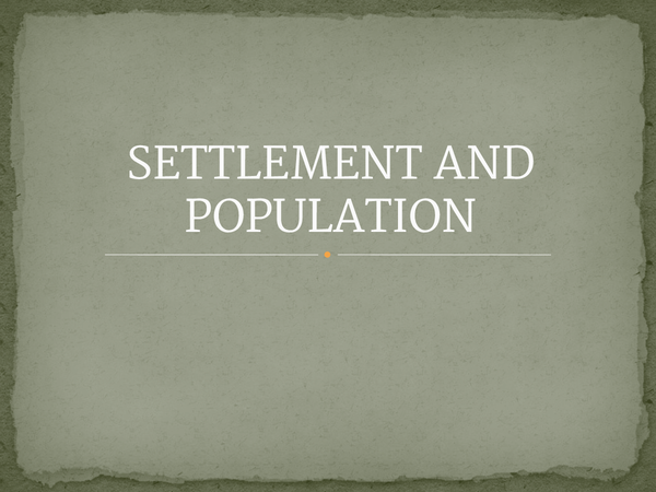 Preview of Settlements and population
