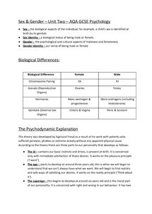 Preview of Sex & Gender - Unit 2 (Freud Sigmund) Psychology