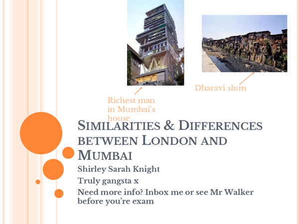 Preview of Similarities and difference between London and Mumbai, OCR