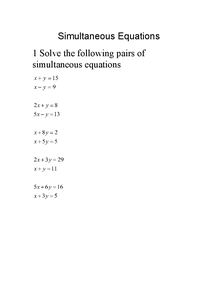 Preview of Simultaneous equations questions