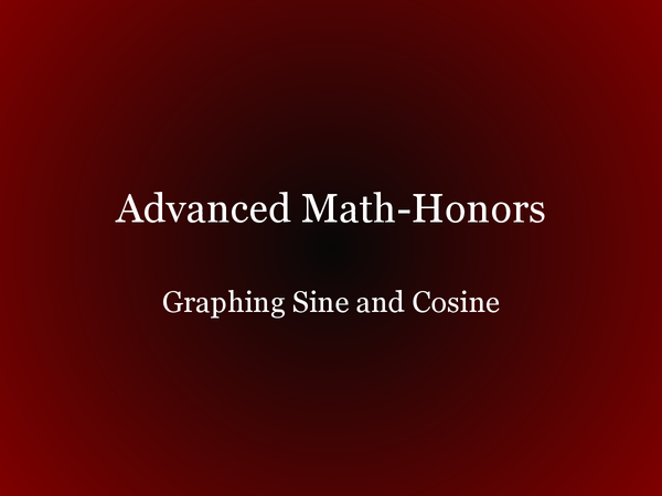 Preview of SINE AND COSINE GRAPHS