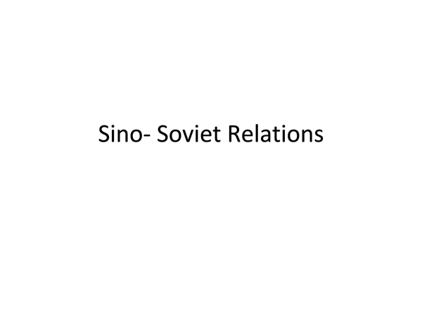 Preview of Sino Soviet Relations