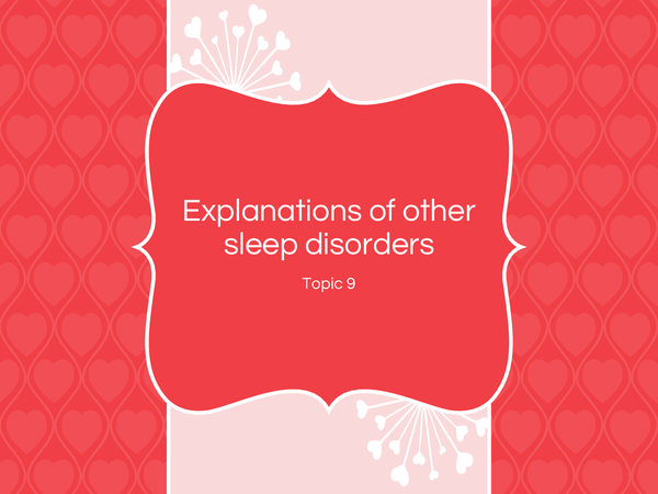 Preview of Sleep disorders: Narcolepsy and Sleep Walking