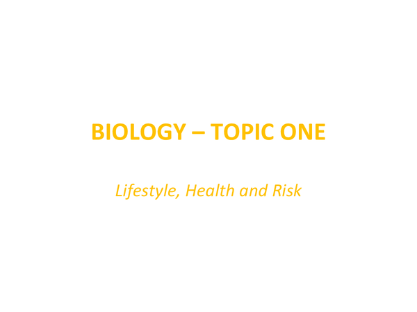 Preview of SNAB Biology AS - Lifestyle, Health and Risk