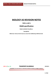 Preview of SNAB Topic 1 Unit 1 Notes - Lifestyle, health and risk NOTES