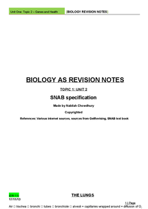 Preview of SNAB Topic 1 Unit 2 Notes - Genes and Health NOTES
