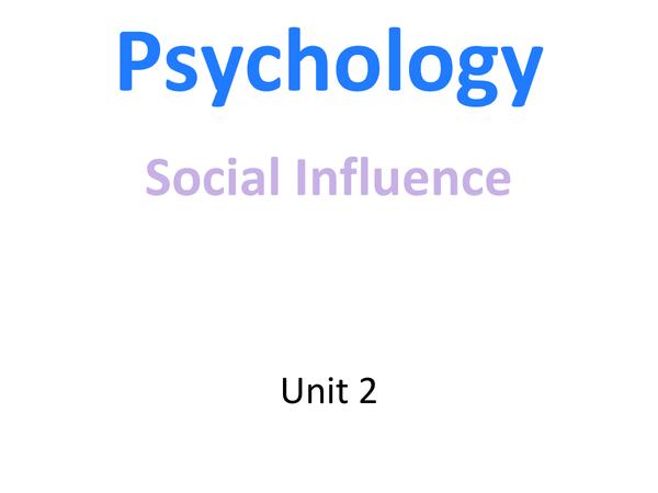 Preview of Social Influences Unit 2