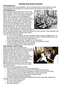 Preview of social policy notes with notes on types of schools and vocationalism.