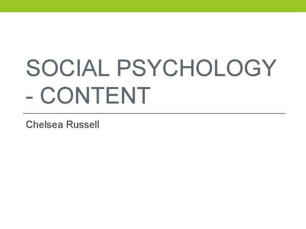 Preview of Social Psychology - Agency theory and social identity theory