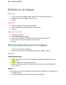 Preview of Sociology A2 Beliefs in Society - Topic 1: Theories of religion