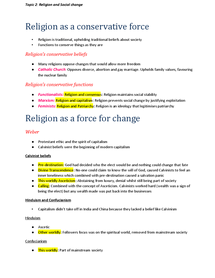 Preview of Sociology A2 Beliefs in Society - Topic 2: Religion and social change