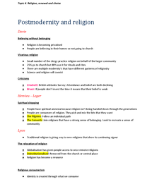 Preview of Sociology A2 Beliefs in Society - Topic 4: Religion, renewal and choice