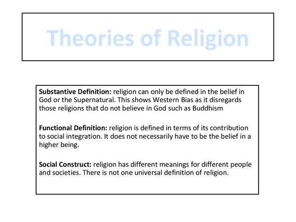 Preview of Sociology A2 Unit 3 Theories of Religion