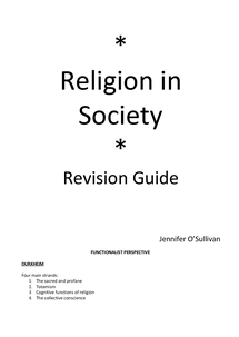Preview of Sociology Beliefs in society revision guide