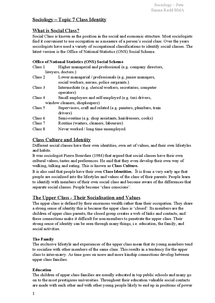 Preview of Sociology – Topic 7 Class Identity