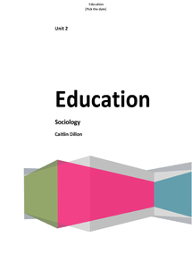 Preview of Sociology Unit 2 - Education