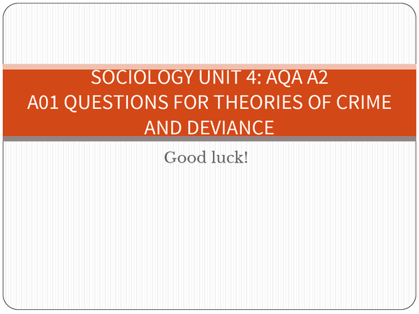 Preview of Sociology Unit 4; A01 questions