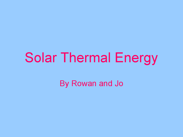 Preview of Solar Thermal Energy