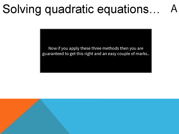 Preview of Solving quadratic equations powerpoint