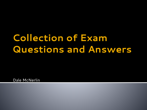 Preview of Some Exam Questions