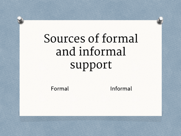 Preview of Sources of Formal and Informal Support