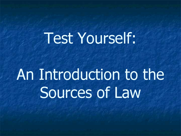 Preview of sources of law test