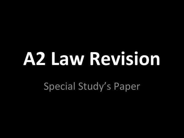 Preview of Special Study Paper - Law Revision - Attempts