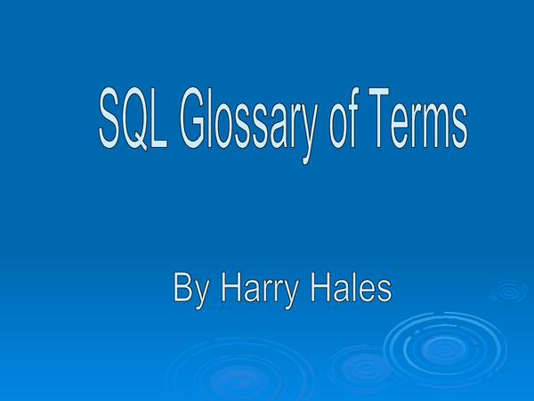 Preview of SQL Glossary