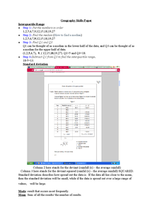 Preview of Statistical Skills AQA AS Level Geography (unit 2)