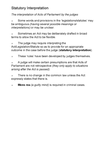 Preview of STATUTORY INTERPRETATION AS LAW - INCOMPLETE