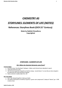 Preview of STORYLINES: ELEMENTS OF LIFE (NOTES)
