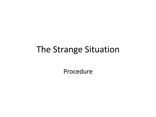 Preview of Strange Situation Procedure
