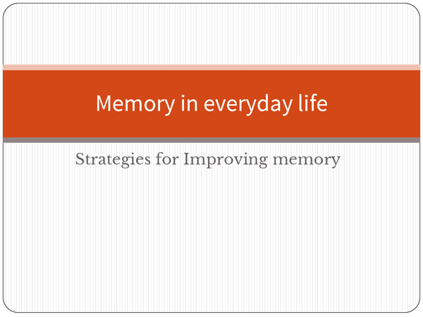 Preview of Strategies for improving memory