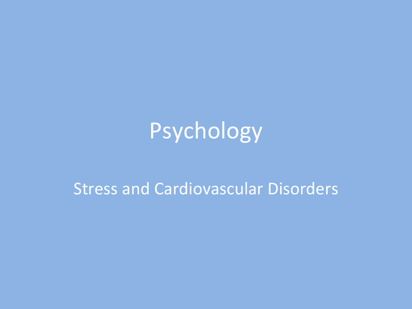 Preview of Stress and Cardiovascular Disorders