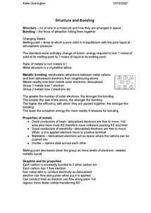 Preview of Structure And Bonding Revision Sheet