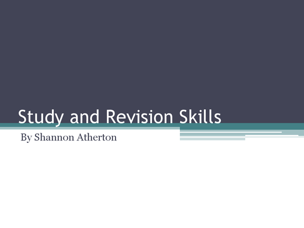 Preview of Study and Revision Skills presentation