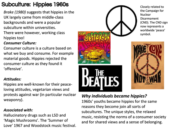 Preview of Subculture Handout: Hippies (AS Sociology OCR Unit 2 Youth)