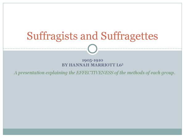 Preview of Suffragists and Suffragettes: A presentation explaining the EFFECTIVENESS of their methods