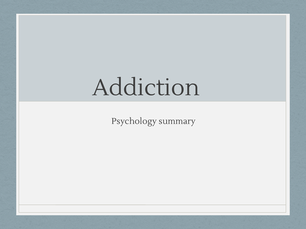 Preview of Summary of Addiction