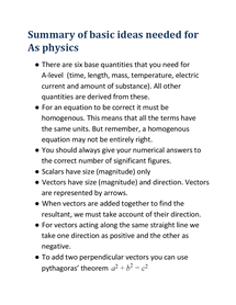 Preview of summary of basic ideas for As physics