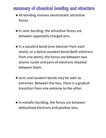 Preview of summary of chemical bonding and structure