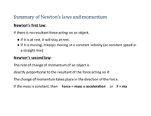 Preview of summary of Newton's laws and momentum