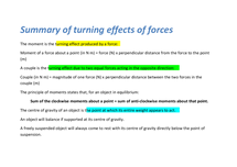Preview of summary of the turning effects of forces