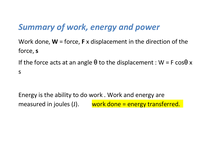 Preview of summary of work energy and power