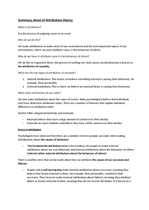 Preview of Summary Sheet of Attribution Theory