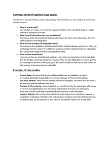 Preview of Summary sheet of the Cognitive Approaches Case studies