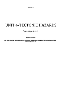 Preview of Summary sheets (Edexcel, unit 4, tectonic hazards)