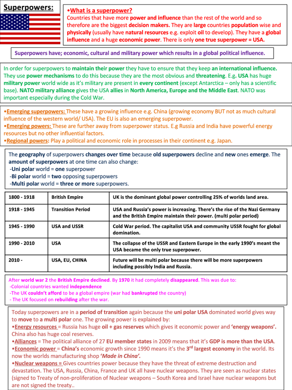 Preview of SUPER POWER GEOGRAPHY - UNIT 3 EDEXCEL A2 DETAILED REVISON